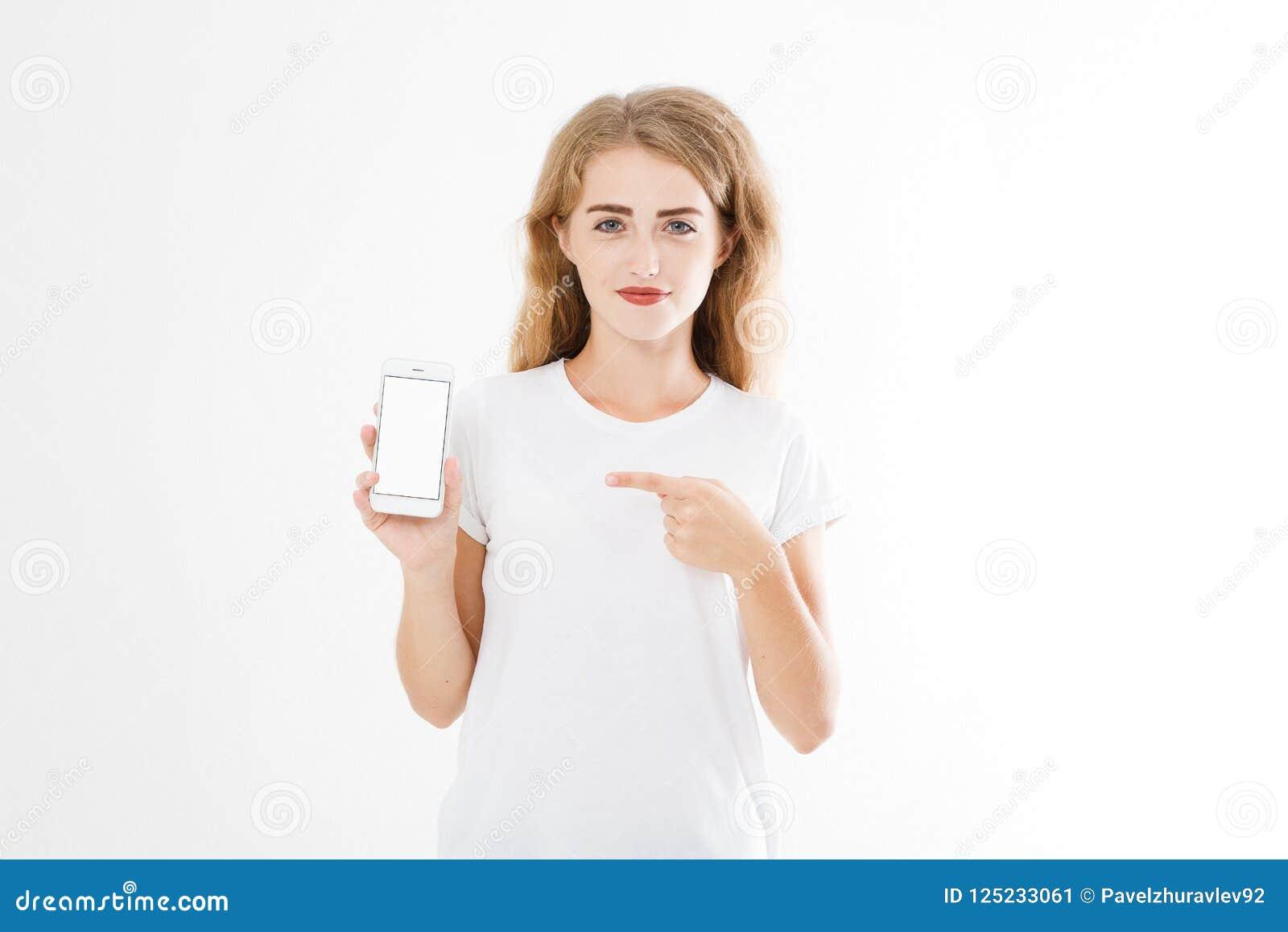 Retrato de la sonrisa atractivo, mujer bonita, muchacha en la camisa, señalando Empresaria adolescente Encargado joven confidente