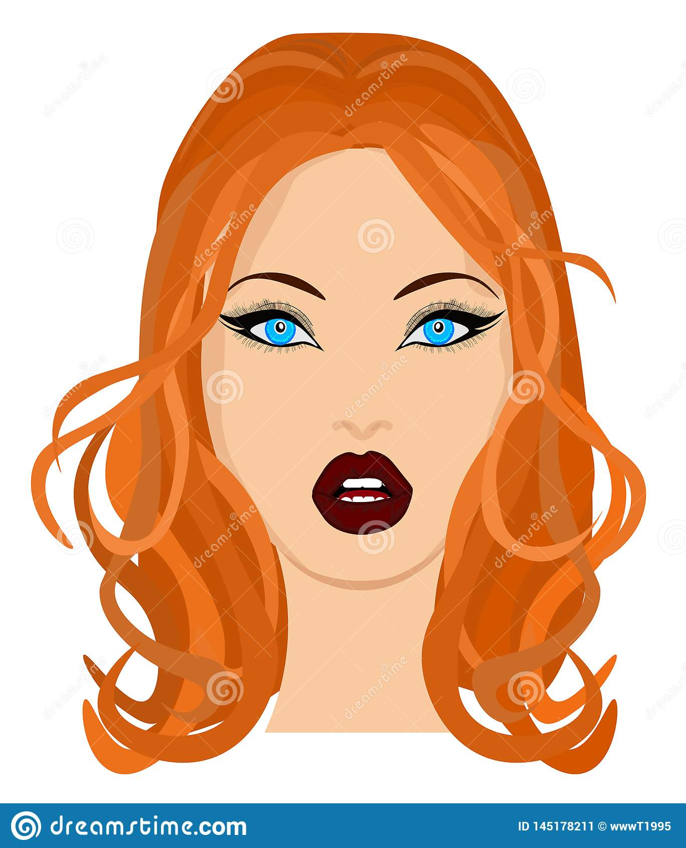 Retrato de la web de una morenita hermosa en primer de los vidrios Ilustraci?n del vector