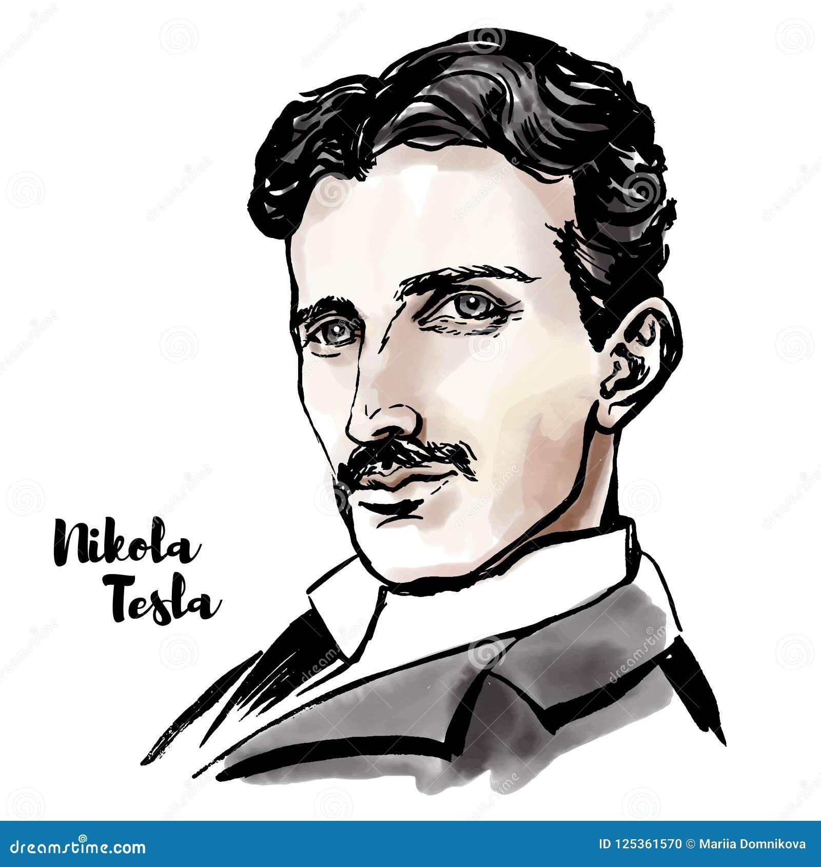 Retrato de Nikola Tesla