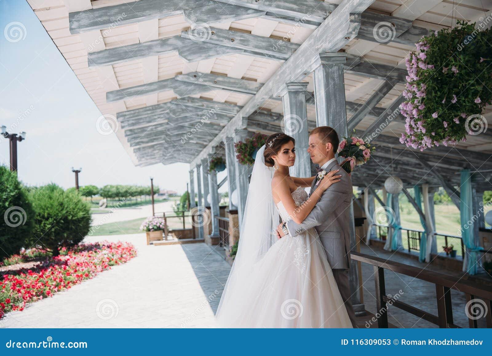 28acdf8fb Retrato de recienes casados el día de boda El novio en un traje gris con una  camisa blanca y una corbata de lazo abraza a una novia hermosa con un  vestido ...