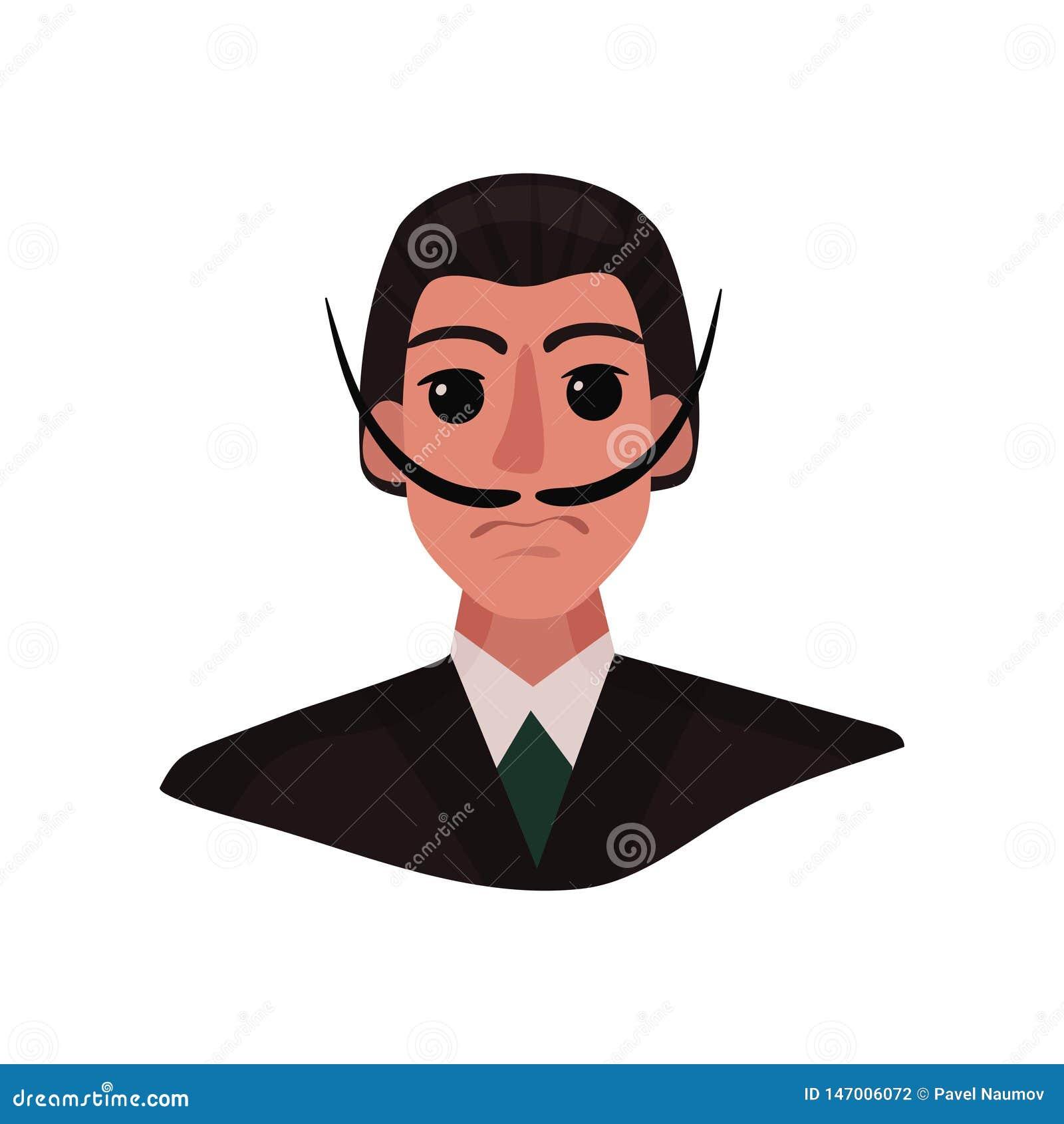 Retrato de Salvador Dali con el bigote largo y los ojos expresivos Ilustraci?n del vector en el fondo blanco