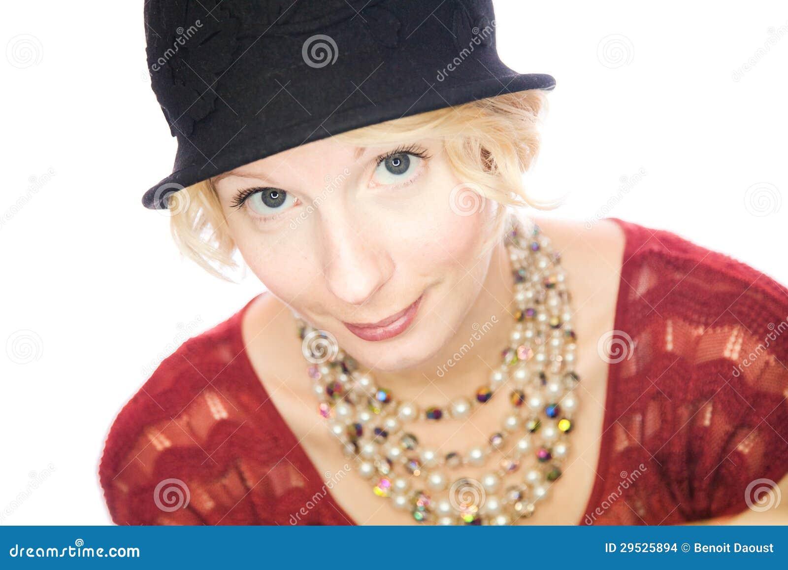 Retrato de sorriso bonito da senhora