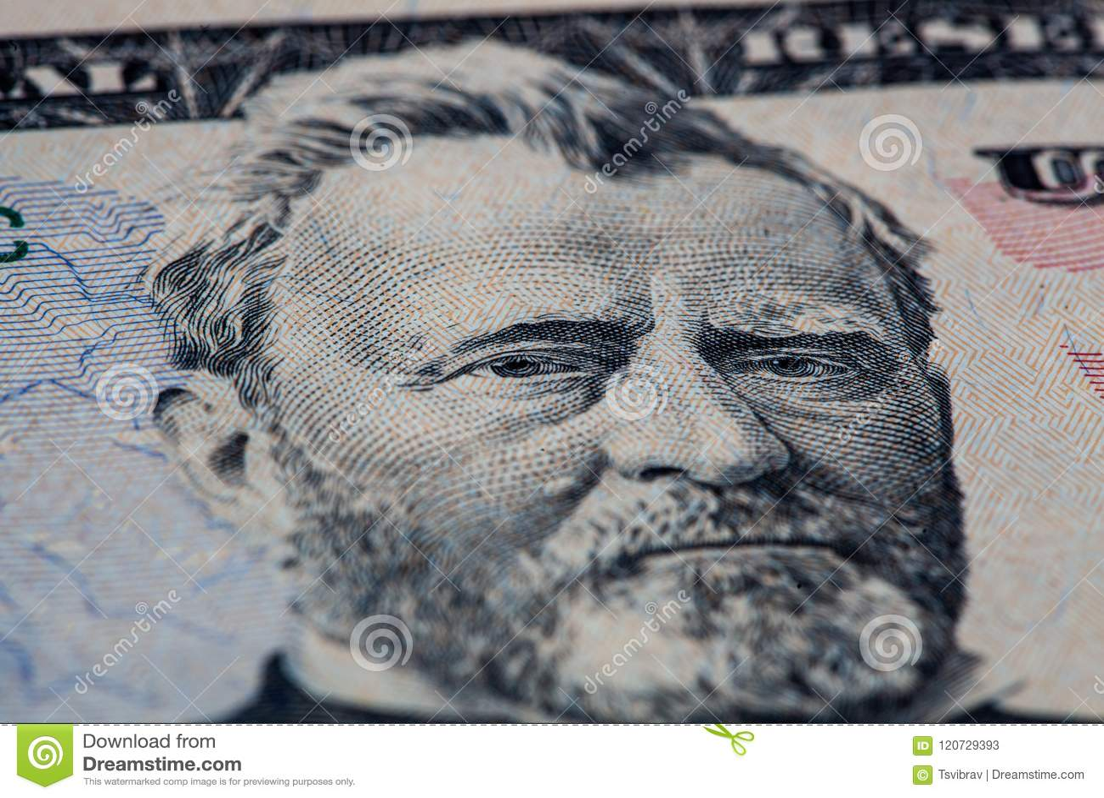 Retrato de Ulysses S Retrato de Grant na nota de dólar 50