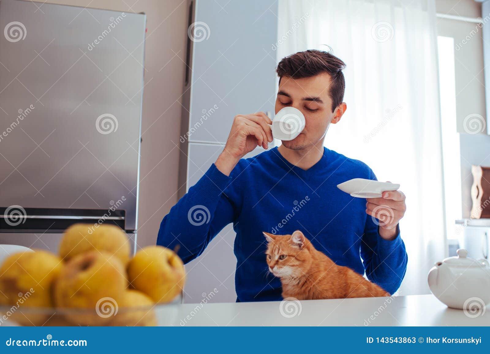 Retrato de um chá bebendo do homem novo com um gato na cozinha