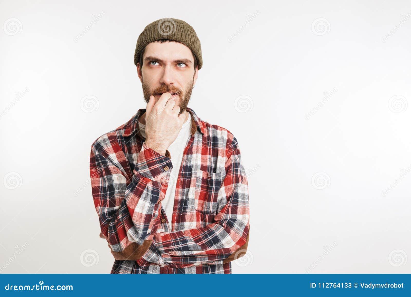 Retrato de um homem farpado pensativo