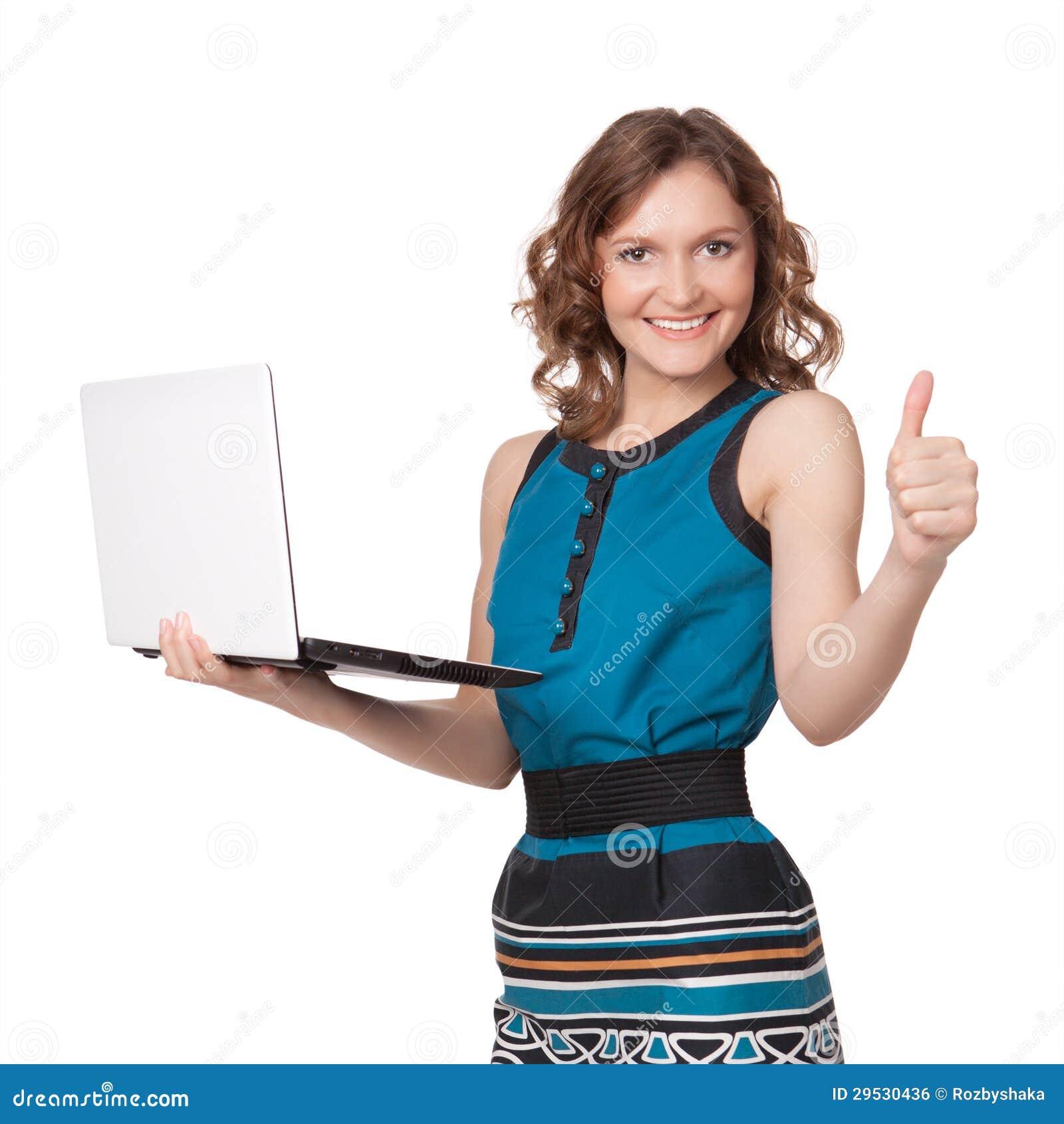 Retrato de uma mulher de negócios consideravelmente nova que guardara um portátil