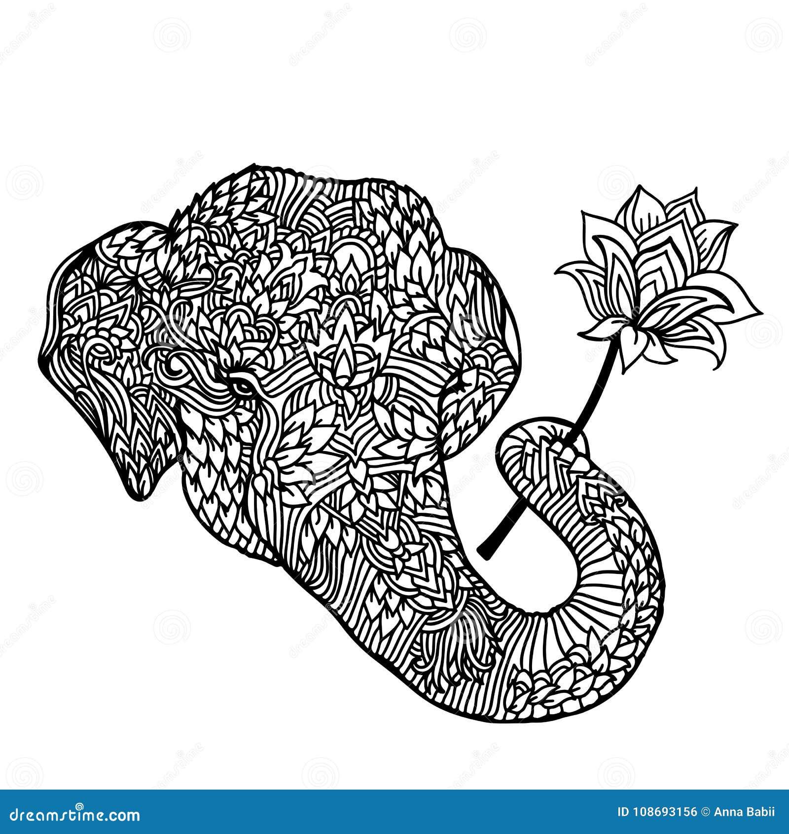 Retrato De Un Elefante Con Una Flor De Loto En Estilo Asiático