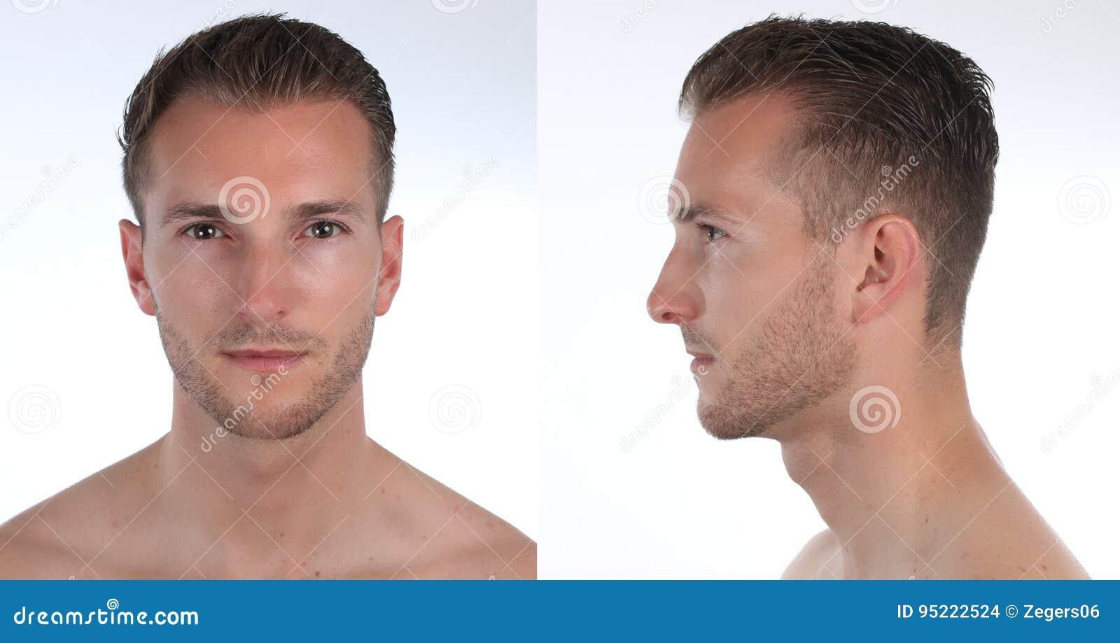 Retrato de un hombre, de un perfil y de una cara hermosos Creación de un carácter virtual 3D o de un avatar