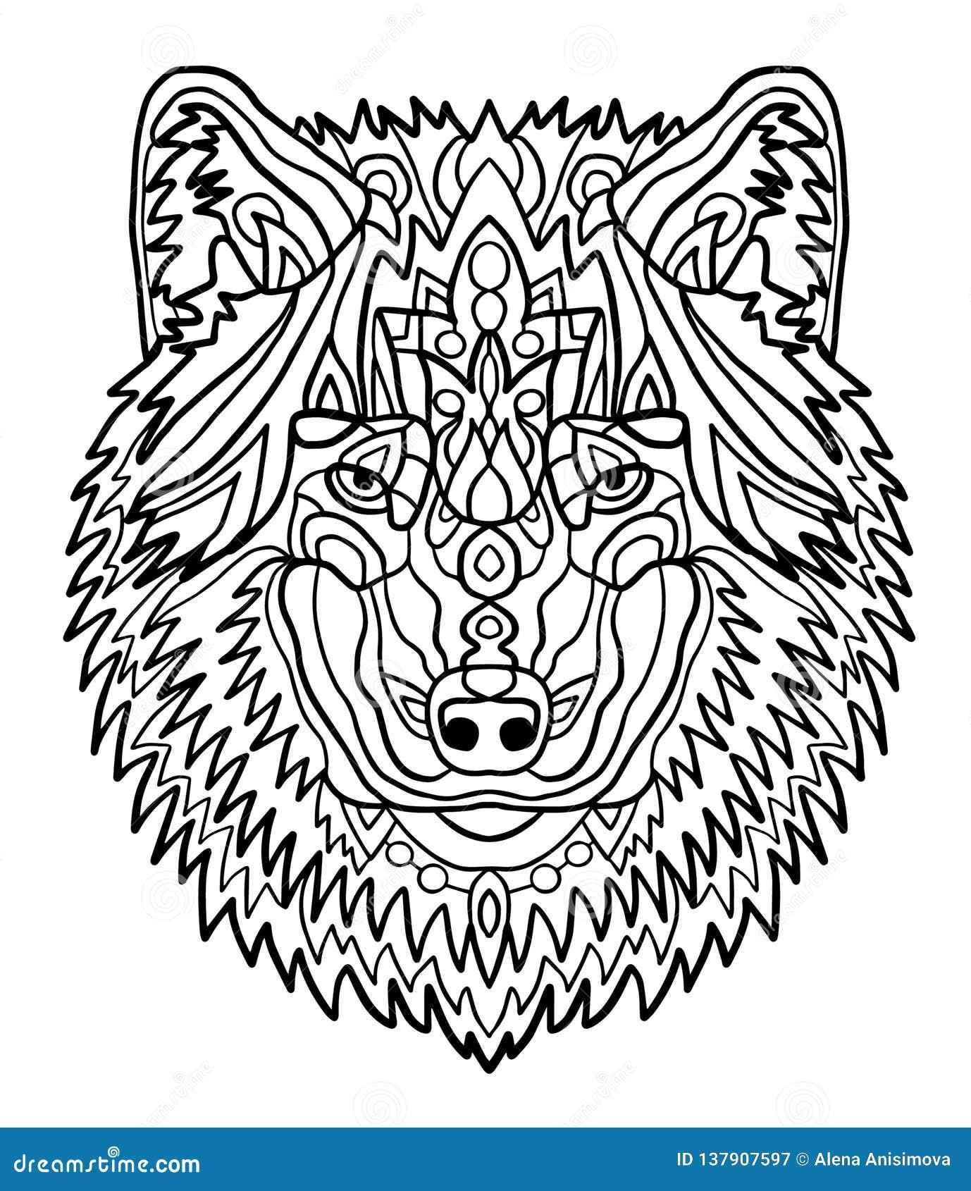 Retrato De Un Lobo Modelos Dibujados Mano Para Colorear Dibujo De