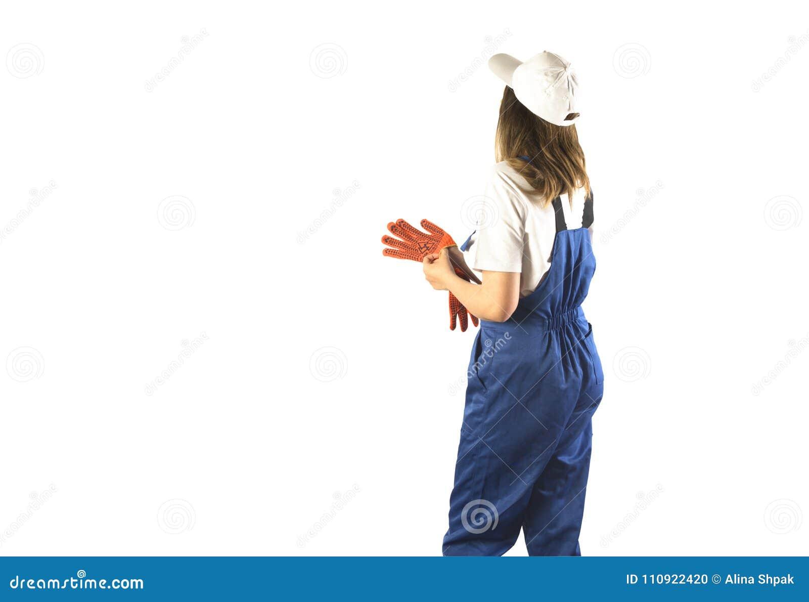 Retrato de un trabajador en el aislamiento blanco