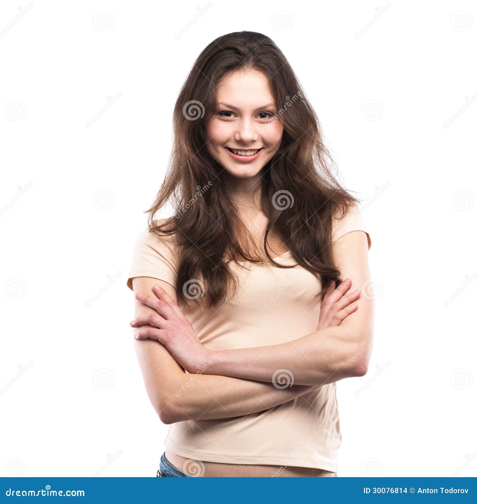 Retrato de una sonrisa feliz de la chica joven