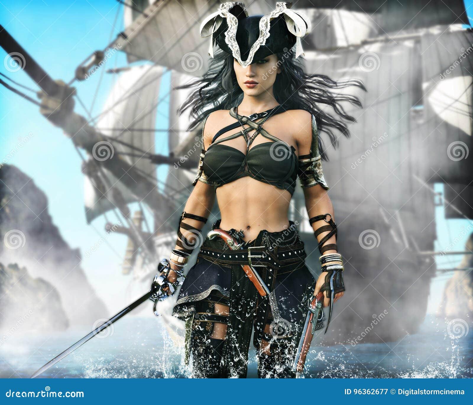 Retrato de una hembra del pirata que viene en tierra