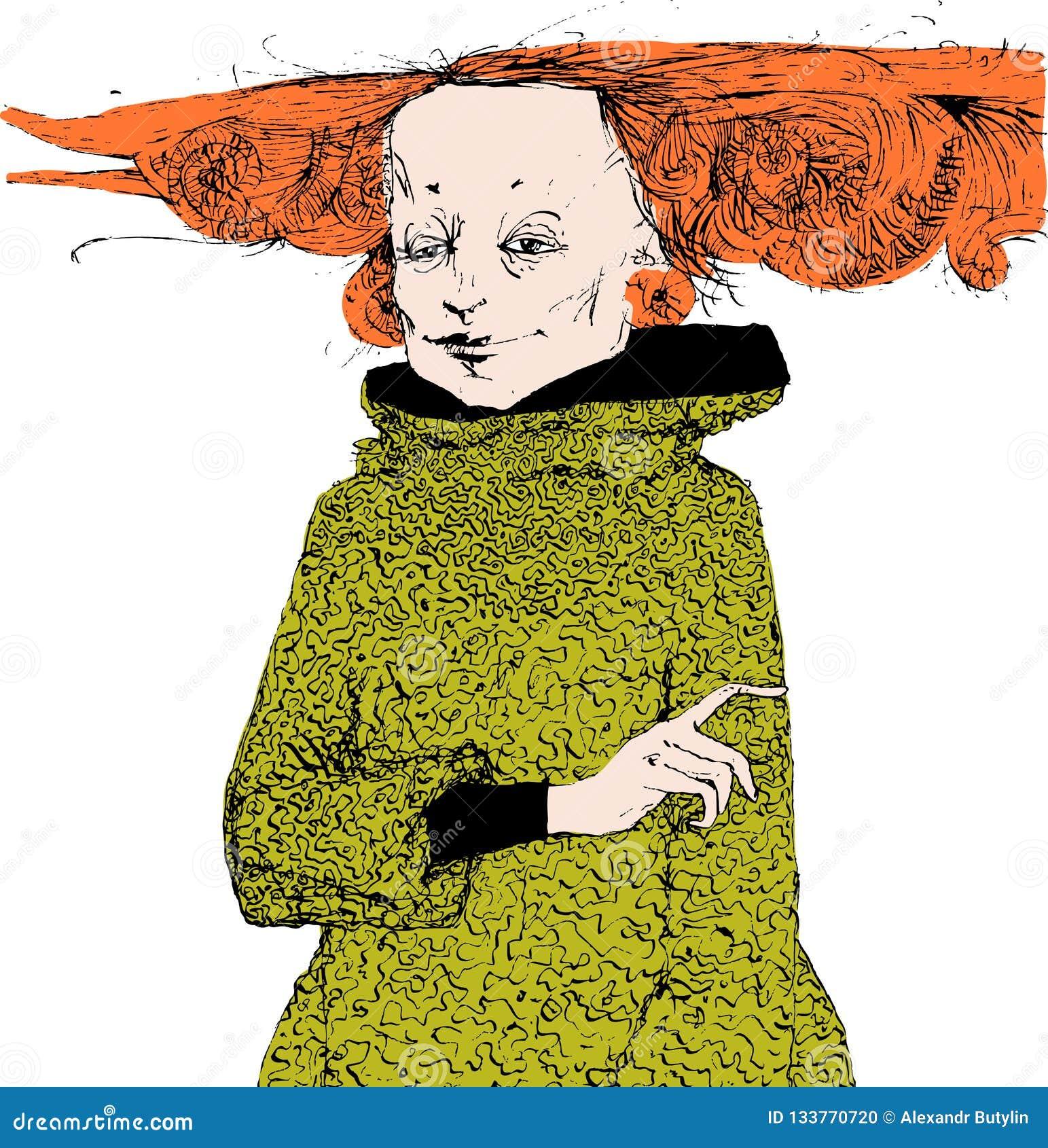 Retrato De Una Mujer Con El Pelo Rojo En Un Vestido Verde Y