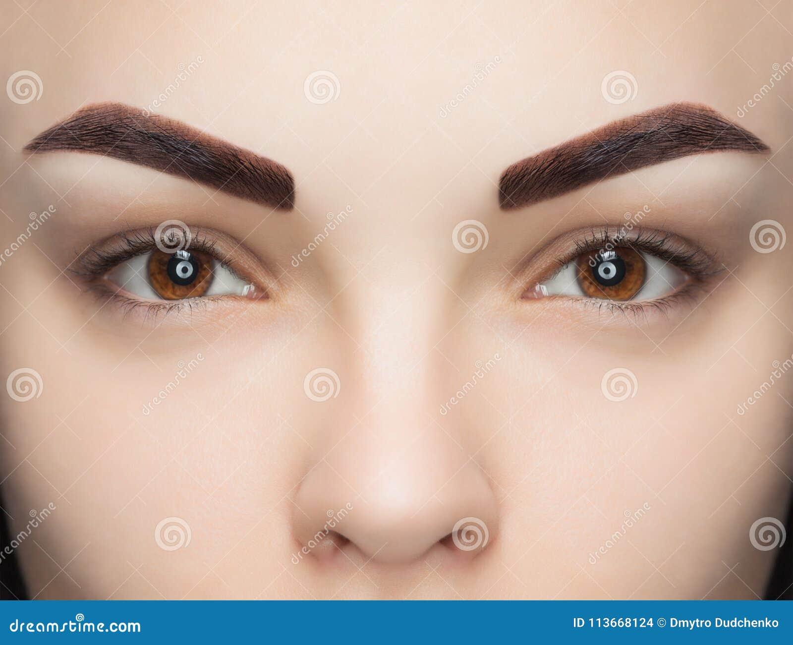 Retrato de una mujer con las cejas hermosas, bien arregladas, después de teñir un salón de belleza