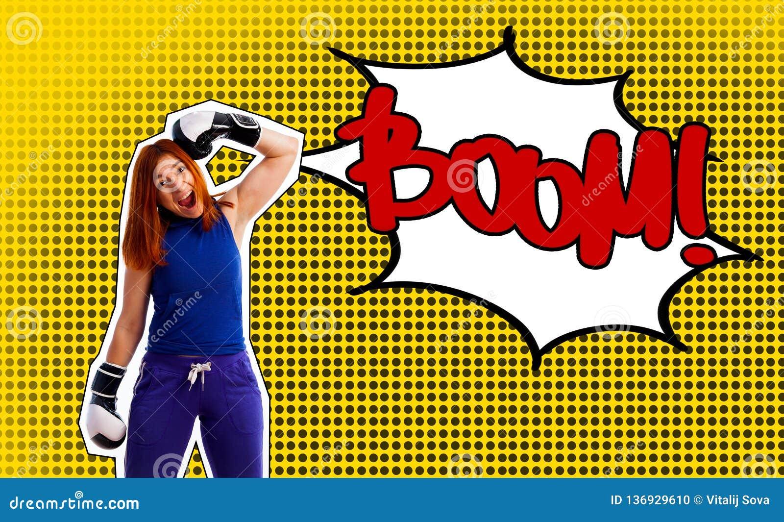 Retrato del arte pop de una mujer en guantes de boxeo