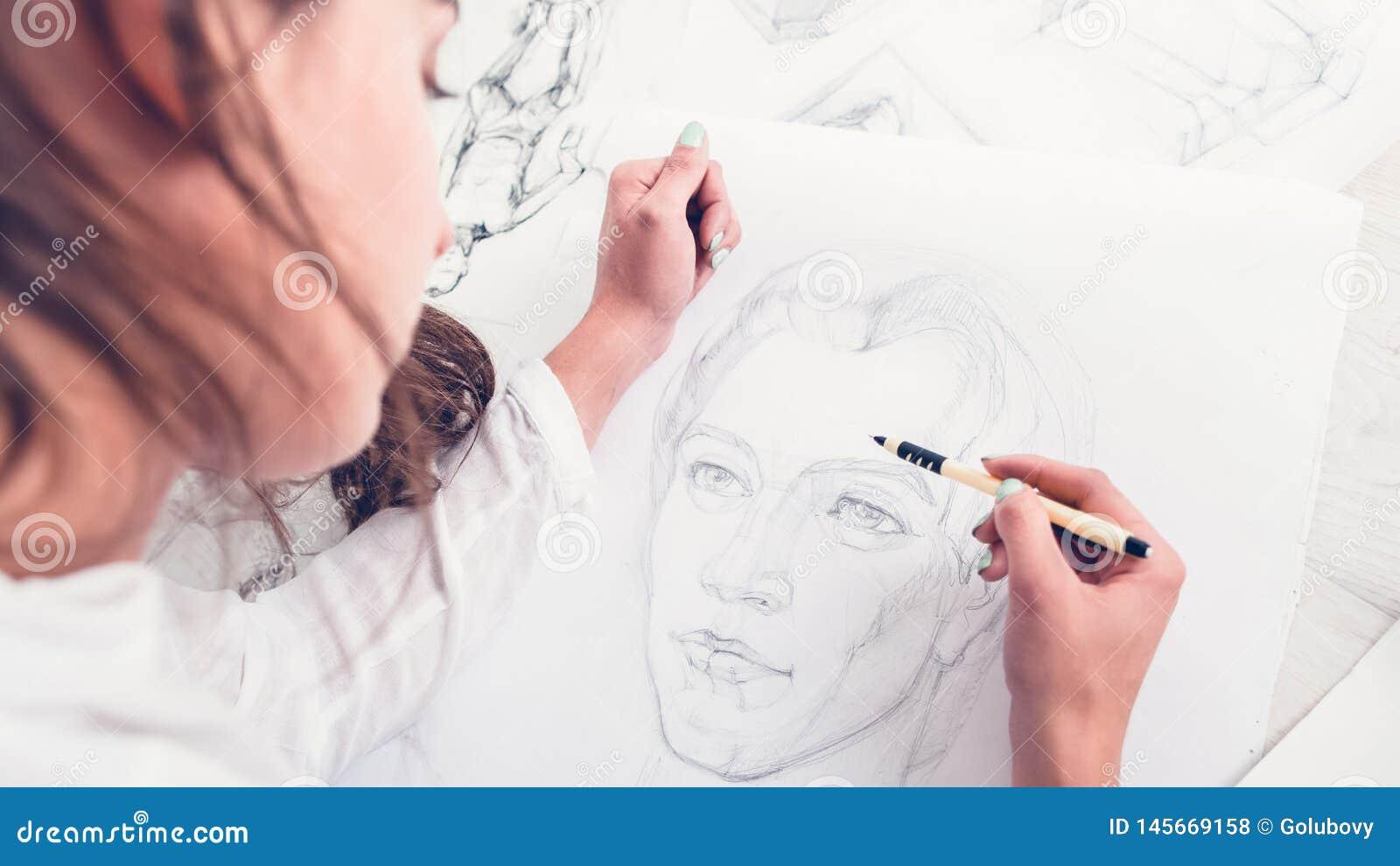 Retrato del dibujo del artista del talento de la creatividad de la afición