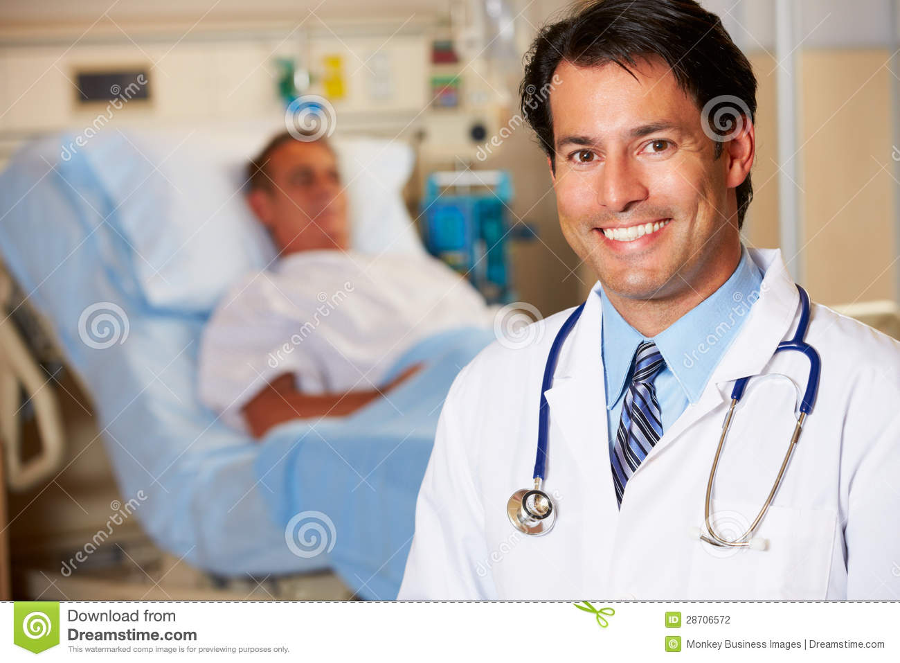 Retrato del doctor With Patient In Background