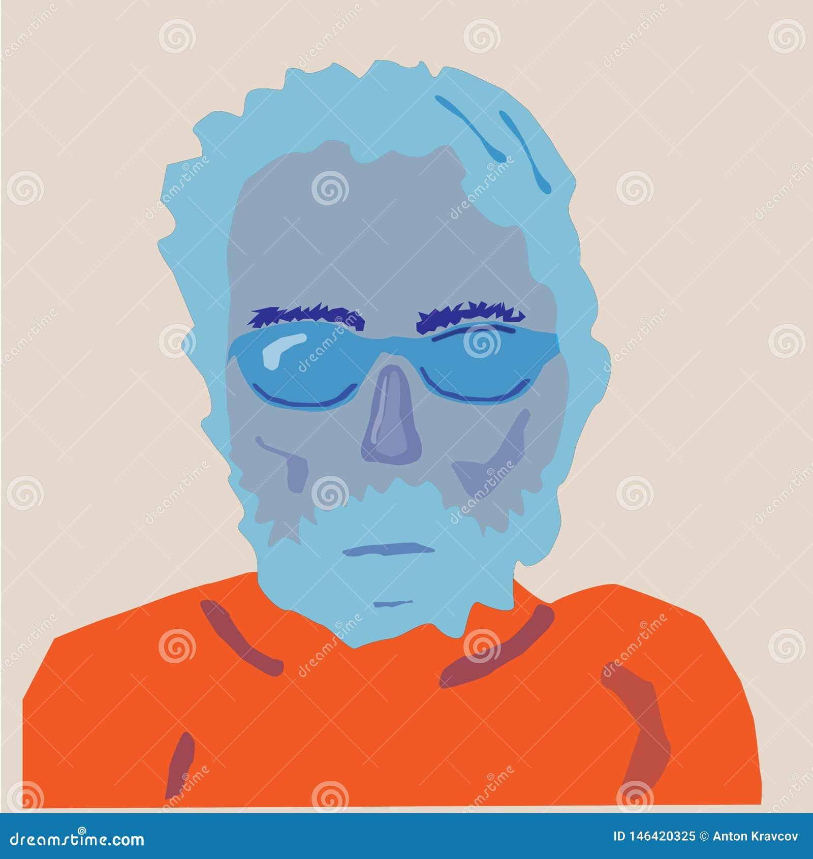 Retrato del hombre en colores anaranjados azules