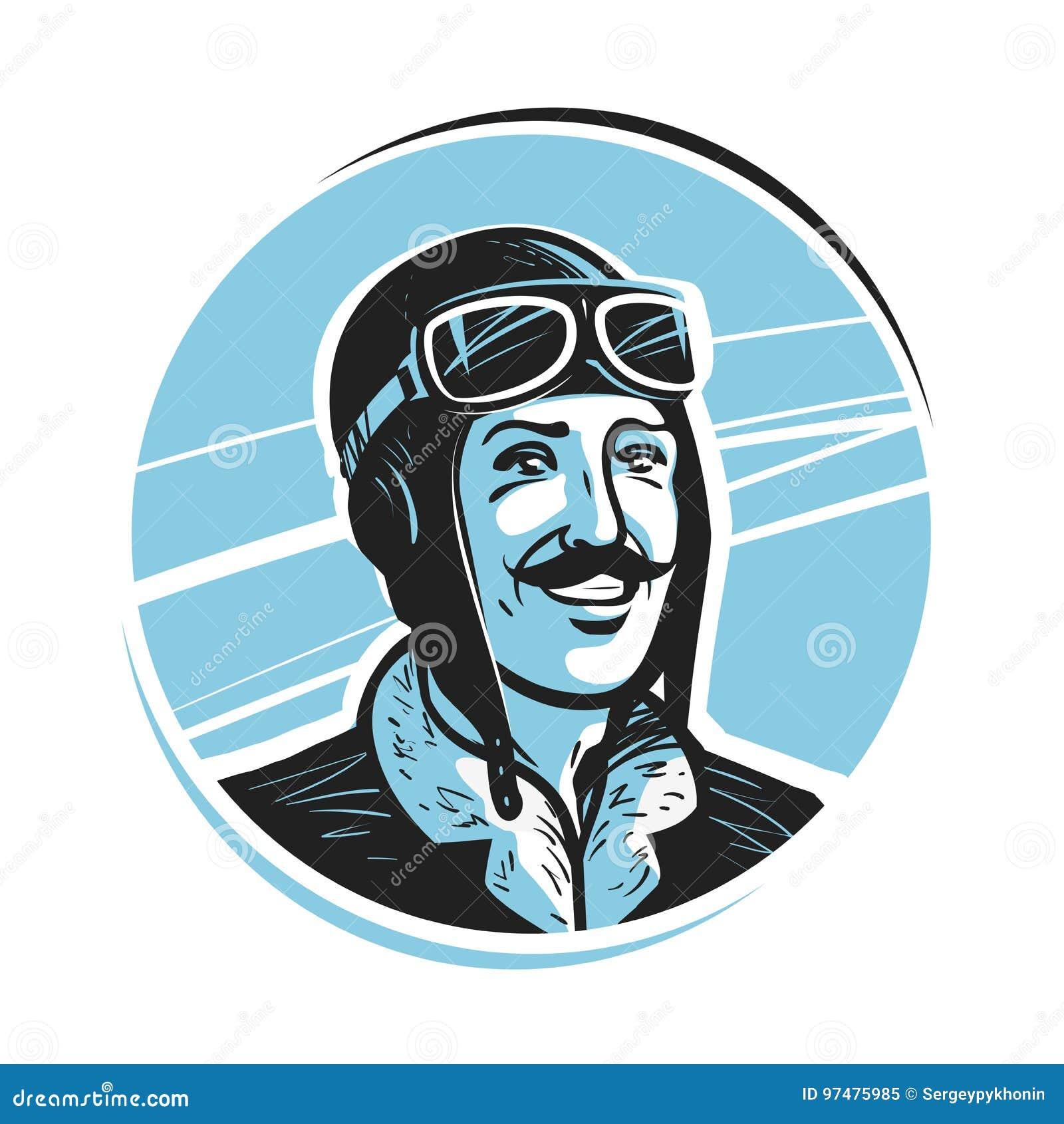a758a3339944c Retrato Del Piloto Feliz En Casquillo Aviador