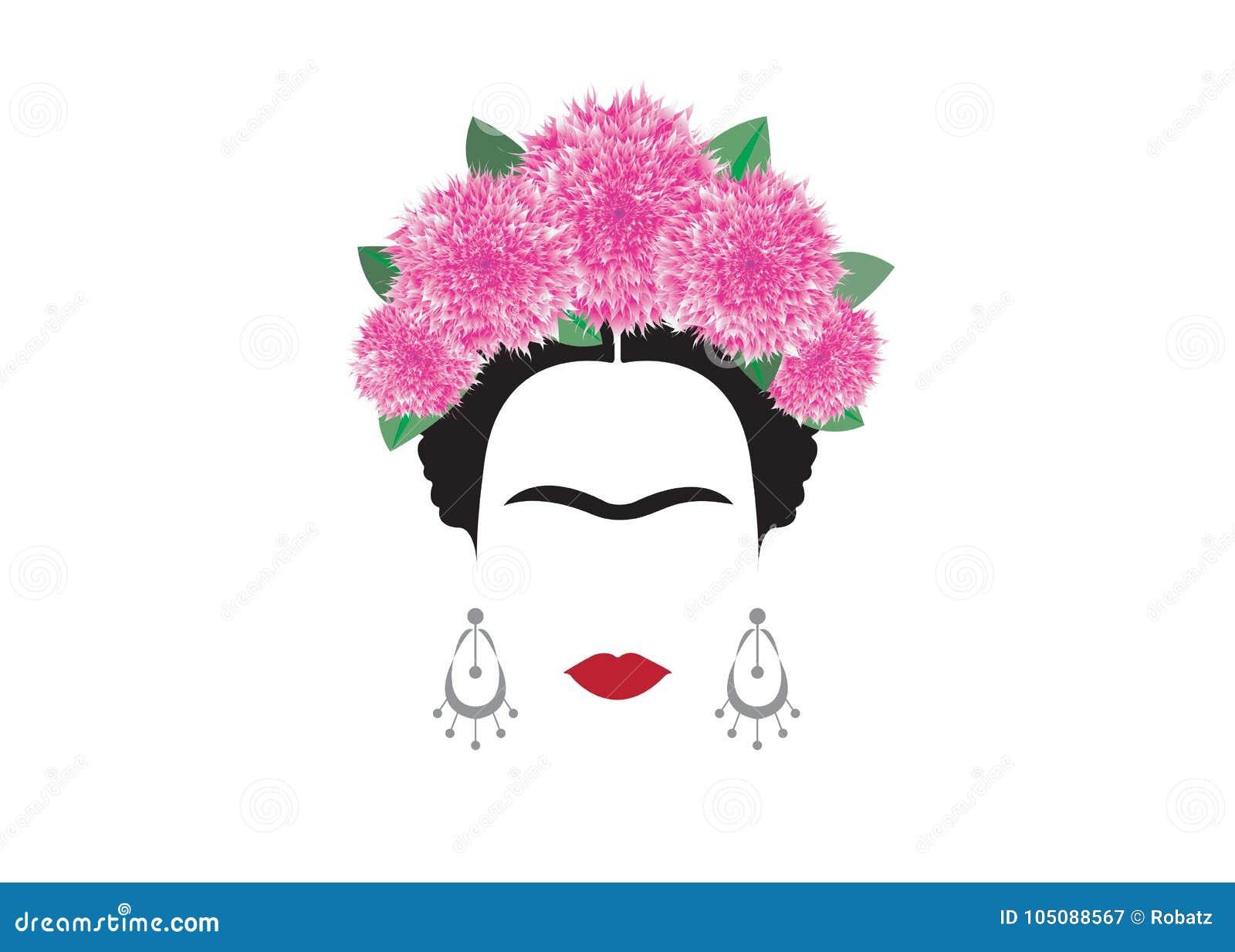 Retrato del vector de Frida Kahlo, mujer mexicana o española hermosa con un peinado tradicional, vector