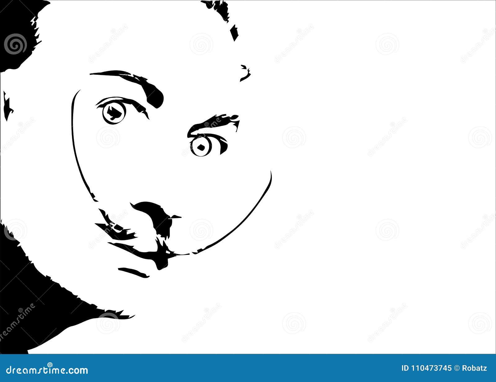 Retrato del vector del ` de Salvador Dali, gráficos mínimos aislados o fondo blanco