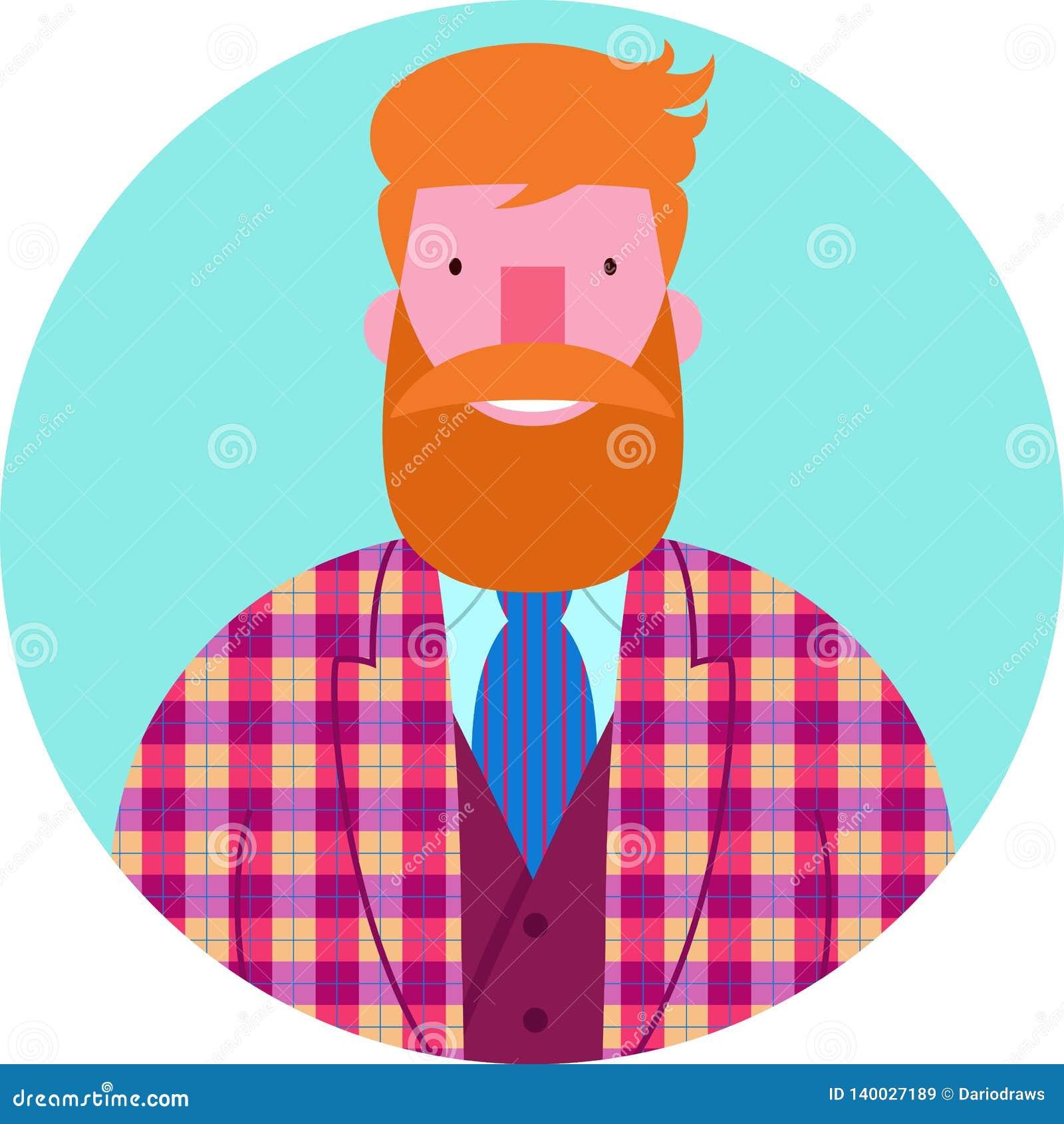 Retrato del vector del icono del hombre barbudo en chaqueta y chaleco comprobados