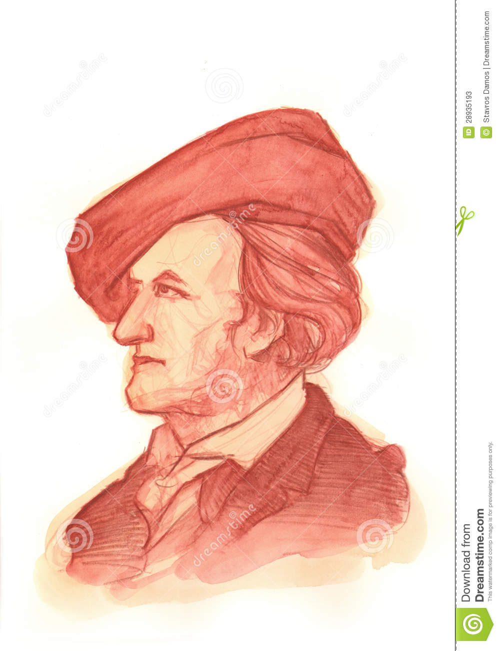 Retrato del Watercolour de Richard Wagner