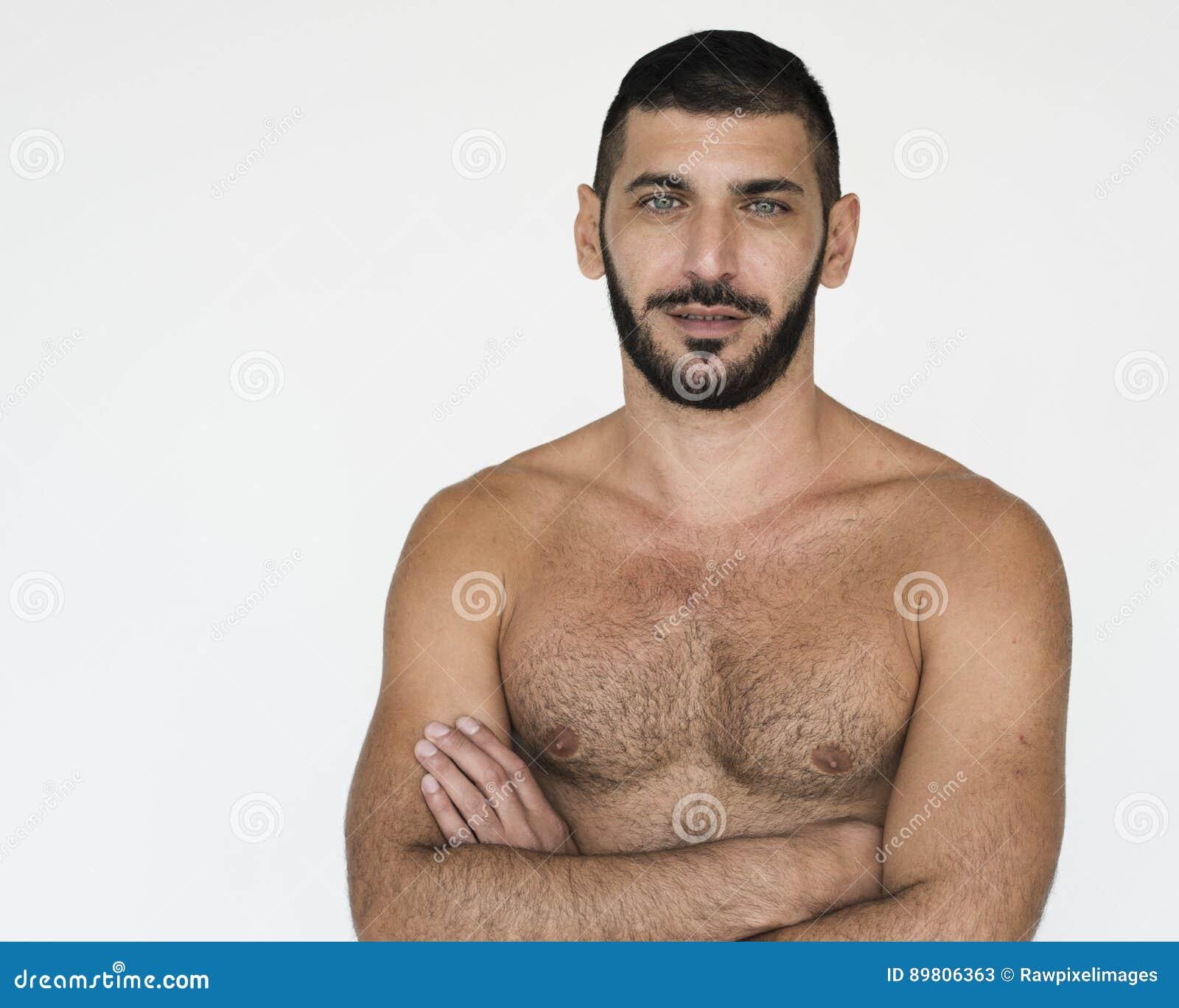Retrato desnudo del estudio del pecho del hombre medio-oriental