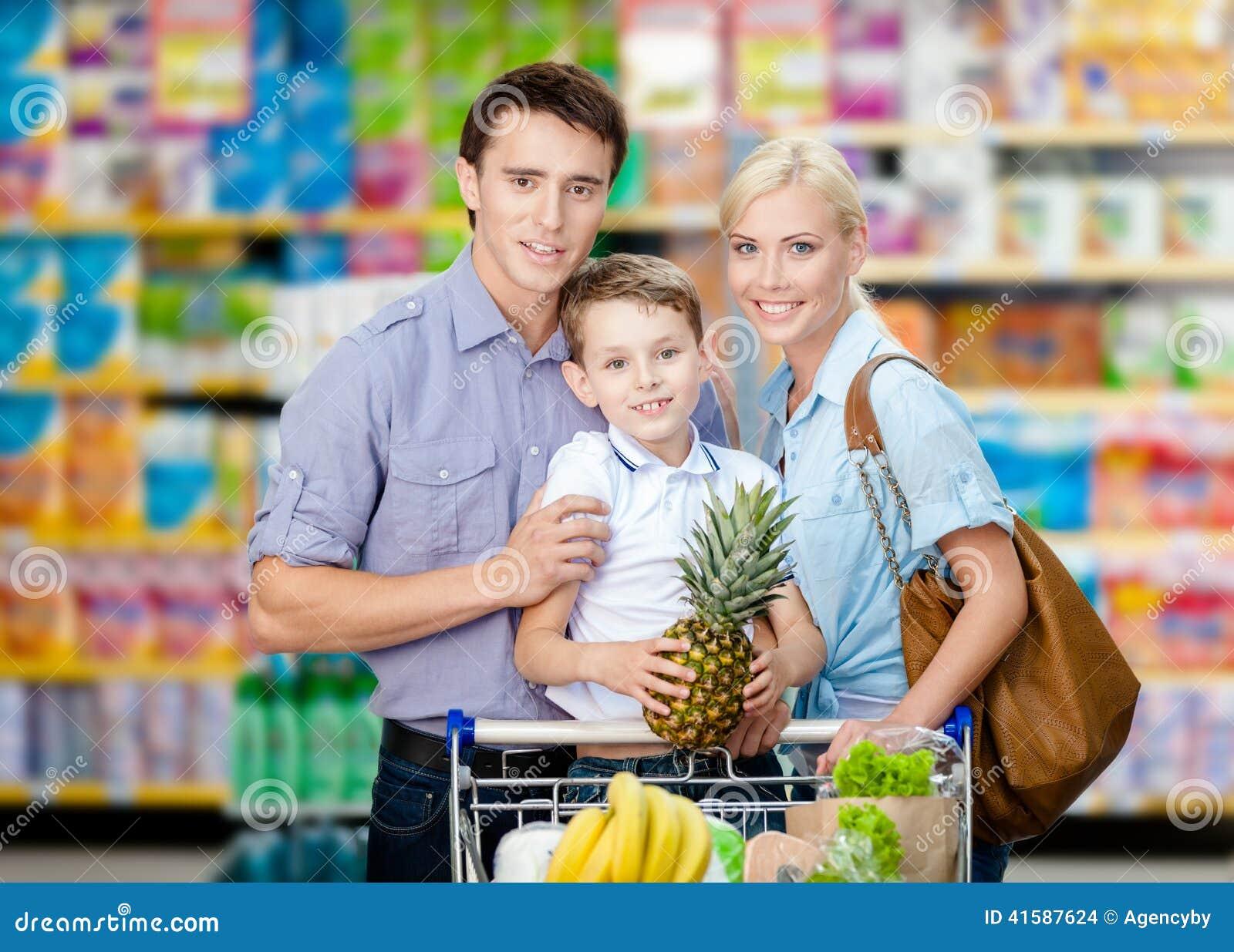 Retrato do busto da família no mercado