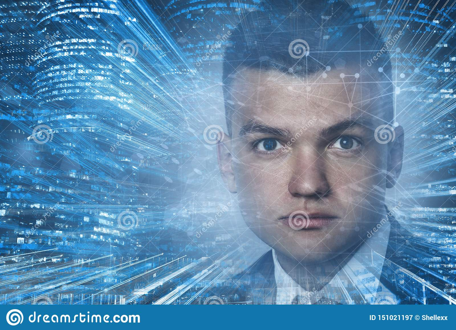 Retrato do contexto das tecnologias da conexão do homem novo com cabelo escuro Conceito alta tecnologia Espa?o tonificado da c?pi