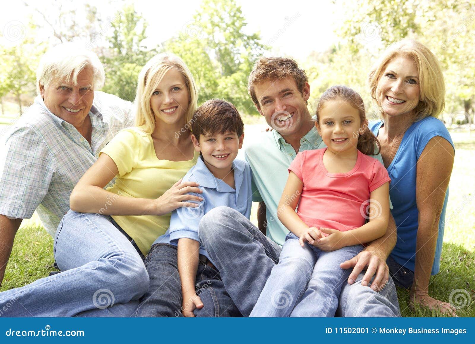 Retrato Do Grupo Da Família No Parque Imagem de Stock - Imagem de ...