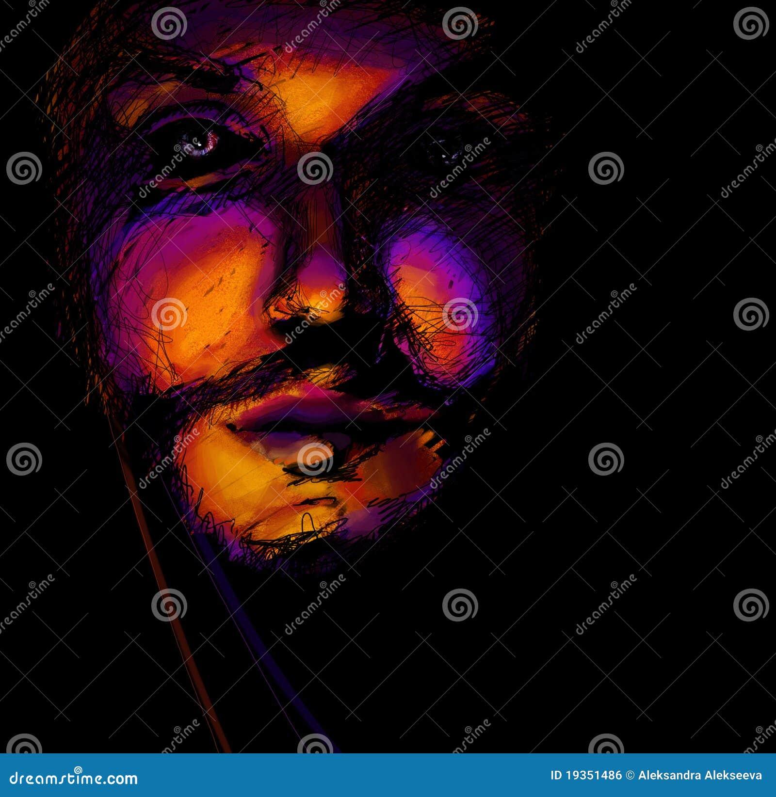 Retrato do homem, pintura digital