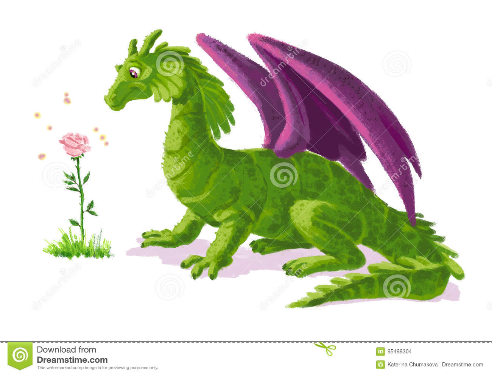 Retrato engraçado artístico tirado mão do dinossauro com a flor cor-de-rosa da mágica