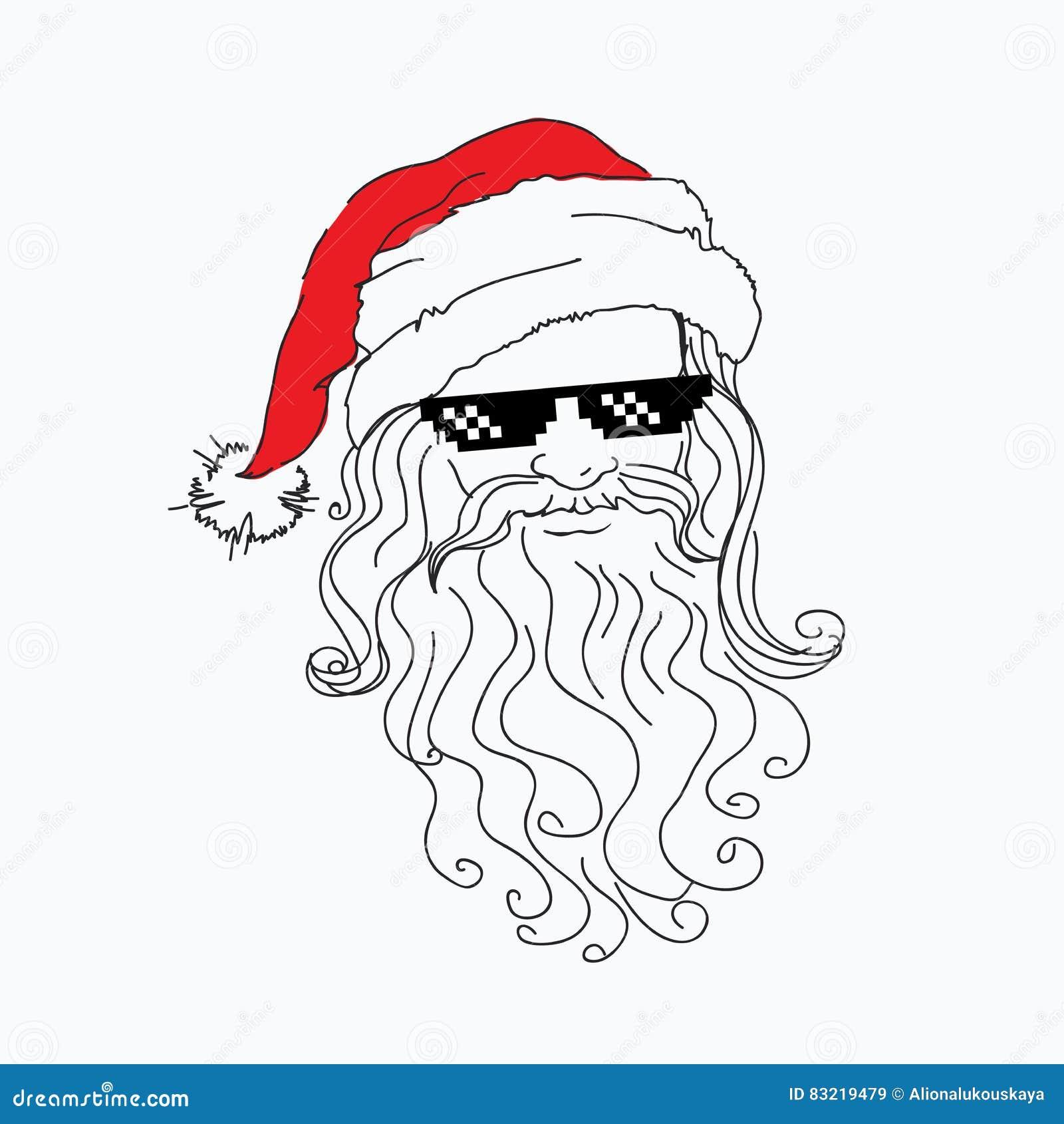 Retrato engraçado de Santa Claus no chapéu vermelho em óculos de sol íngremes de um preto do pixel Natal fresco do pai X-mas aleg