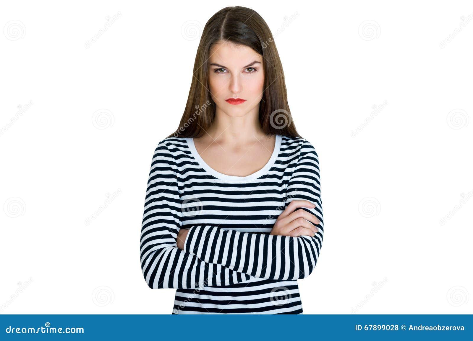 96afc8ba4 Retrato Enojado Serio Joven De La Mujer Foto de archivo - Imagen de ...