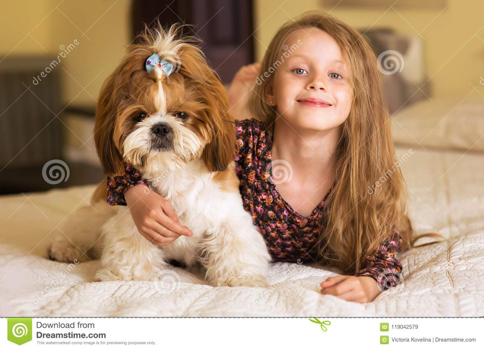 Retrato home da criança bonito que abraça com o cachorrinho do cão no sofá