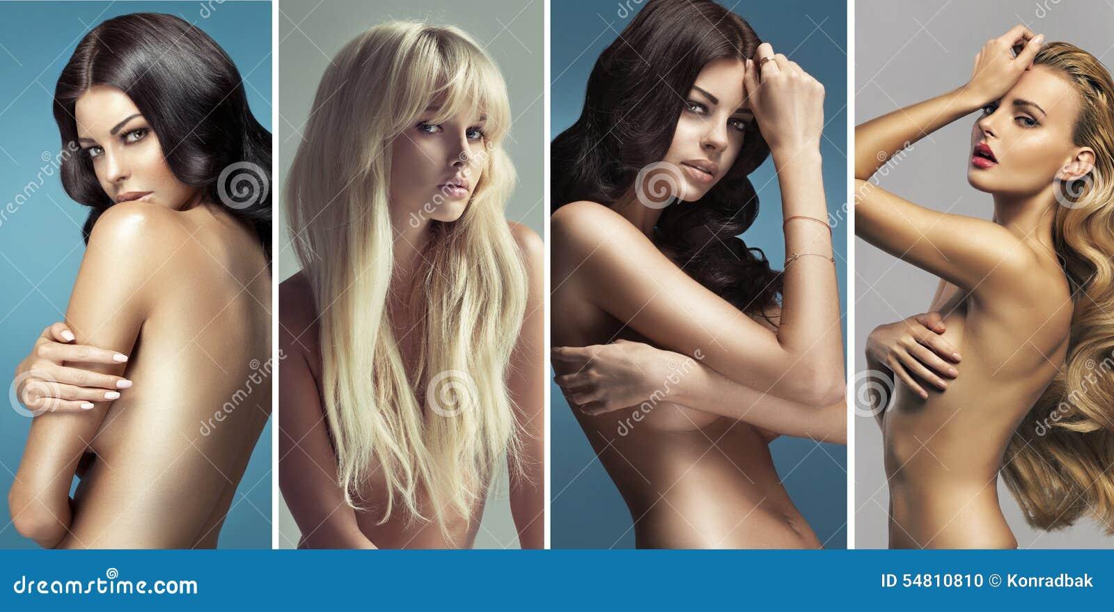 Retrato múltiplo de mulheres bonitas do nude