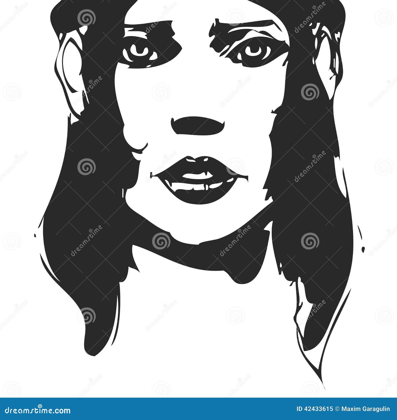 Retrato a mano blanco y negro de la mujer tinta