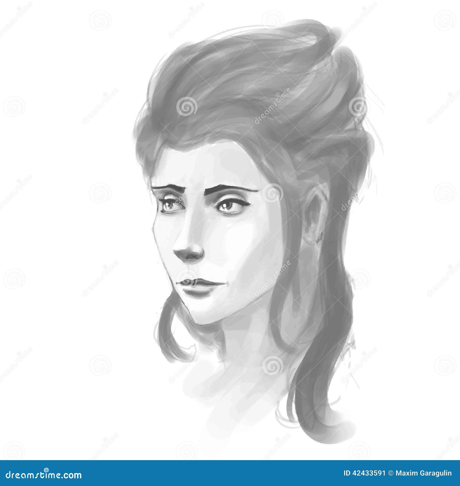 Retrato a mano de la mujer Imitación del bosquejo de Pancil