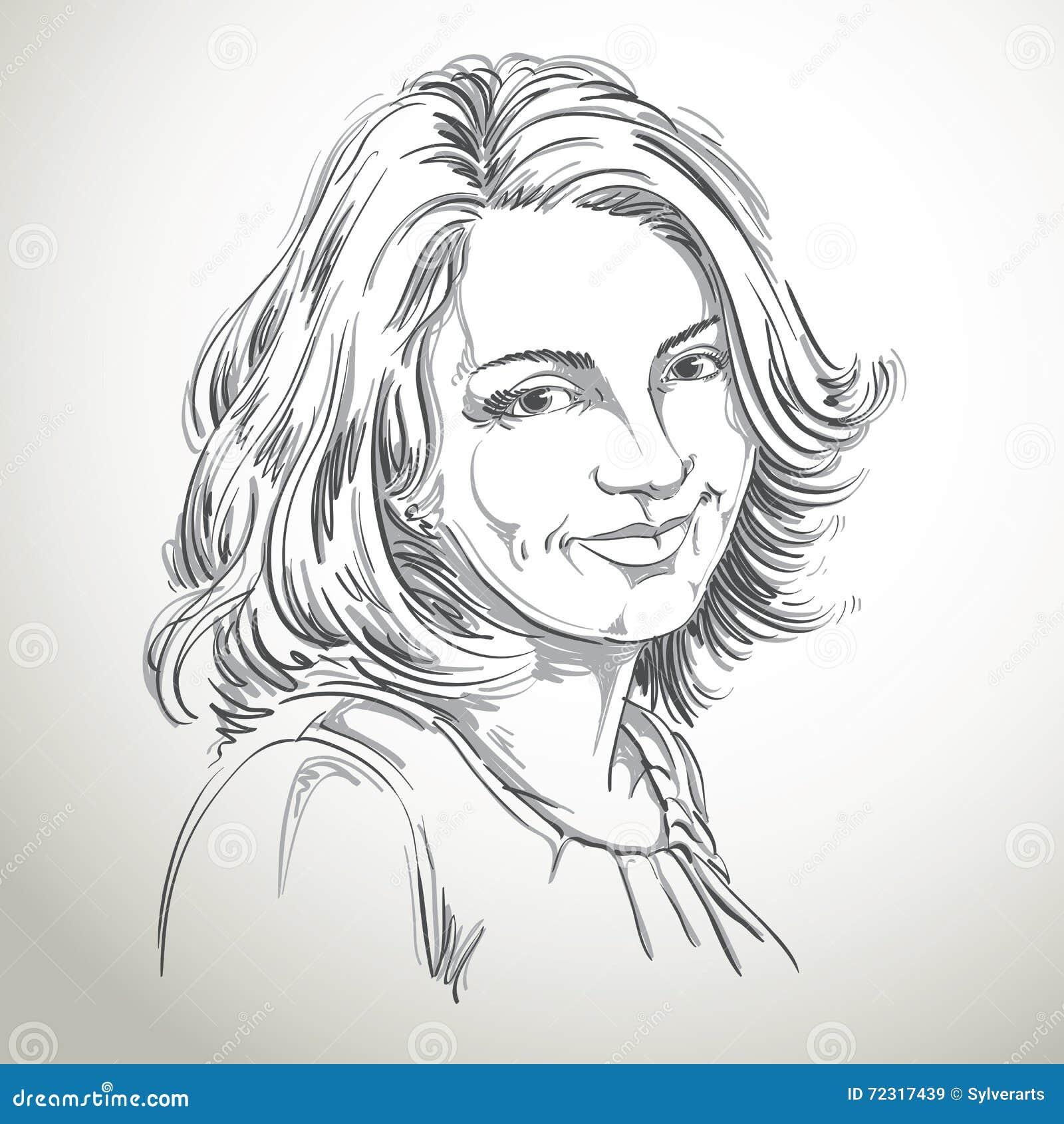 Retrato a mano de la mujer sonriente de la blanco-piel, emociones t de la cara
