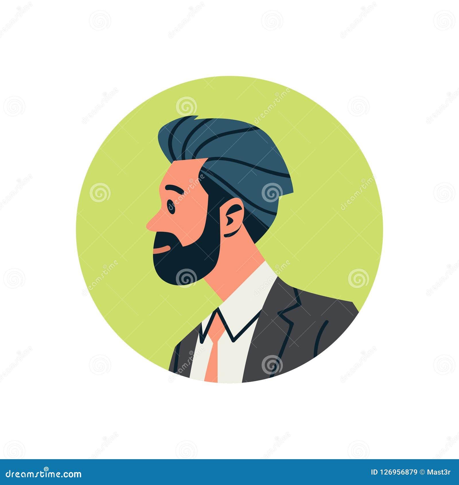Retrato masculino do personagem de banda desenhada do serviço de assistência em linha moreno do conceito do ícone do perfil da ca