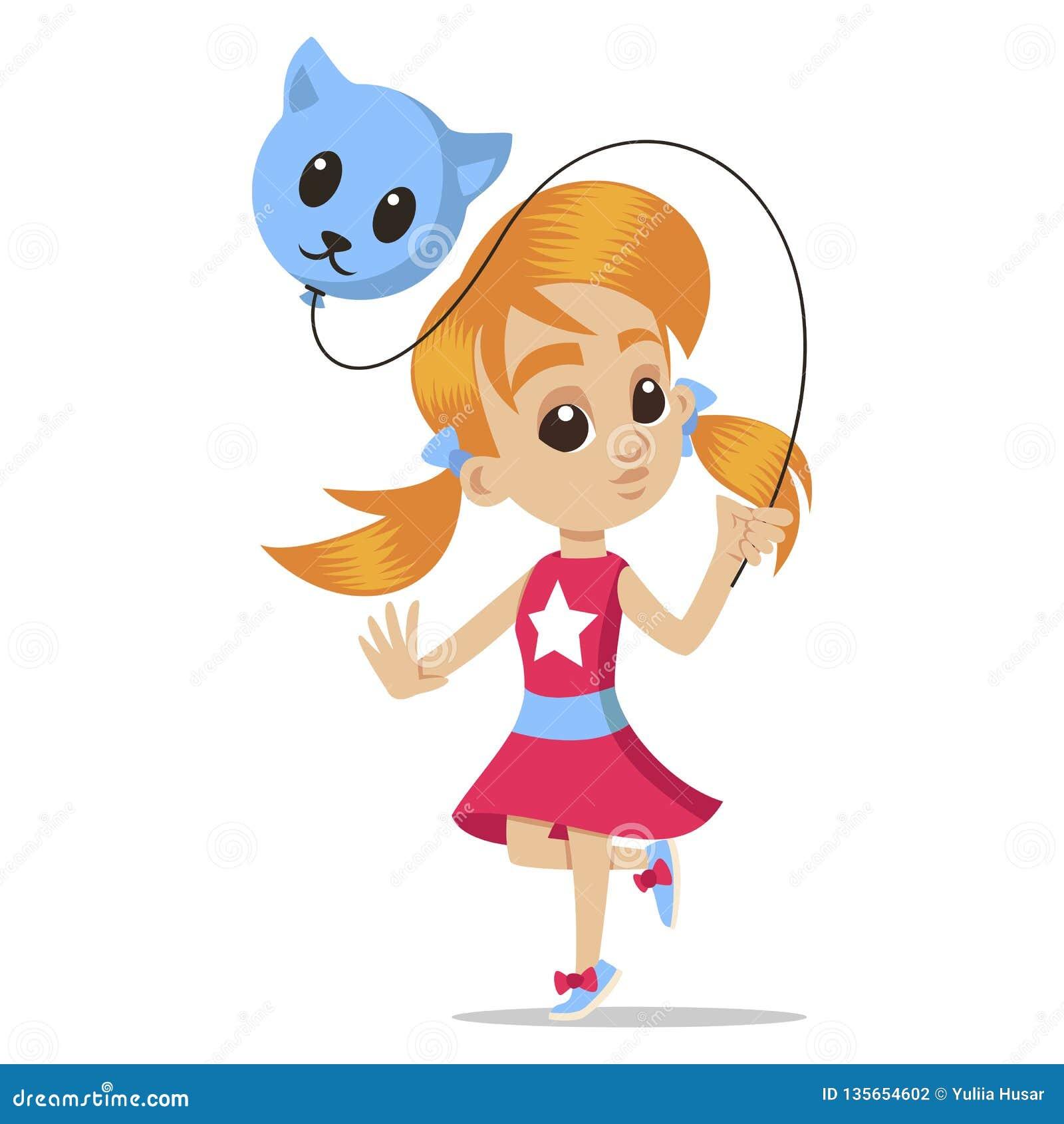 Retrato novo do caráter desenhos animados felizes da menina Menina com um balão Caráter principal da menina bonito Vetor