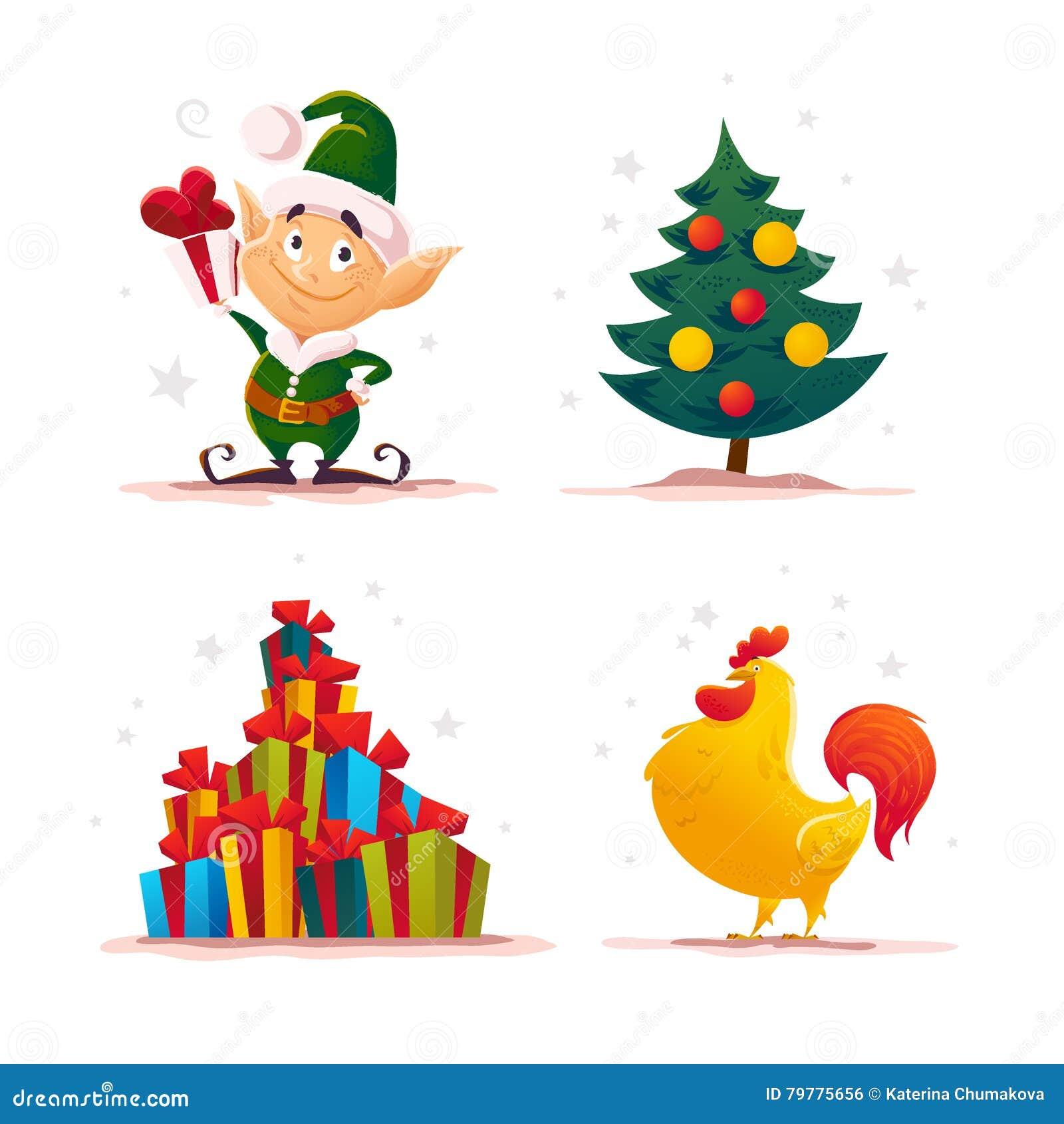 Retrato plano del carácter del duende de Papá Noel de la Navidad del vector