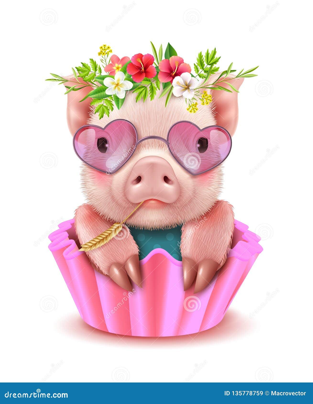 Retrato realista del cerdo lindo