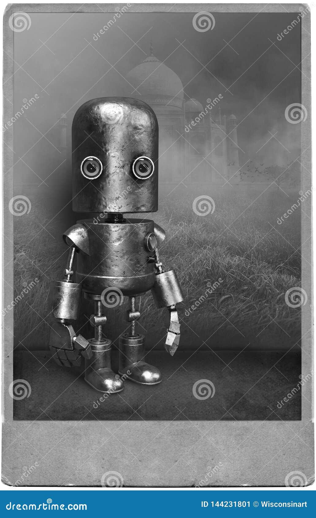 Retrato surrealista del robot del vintage, hombre mecánico
