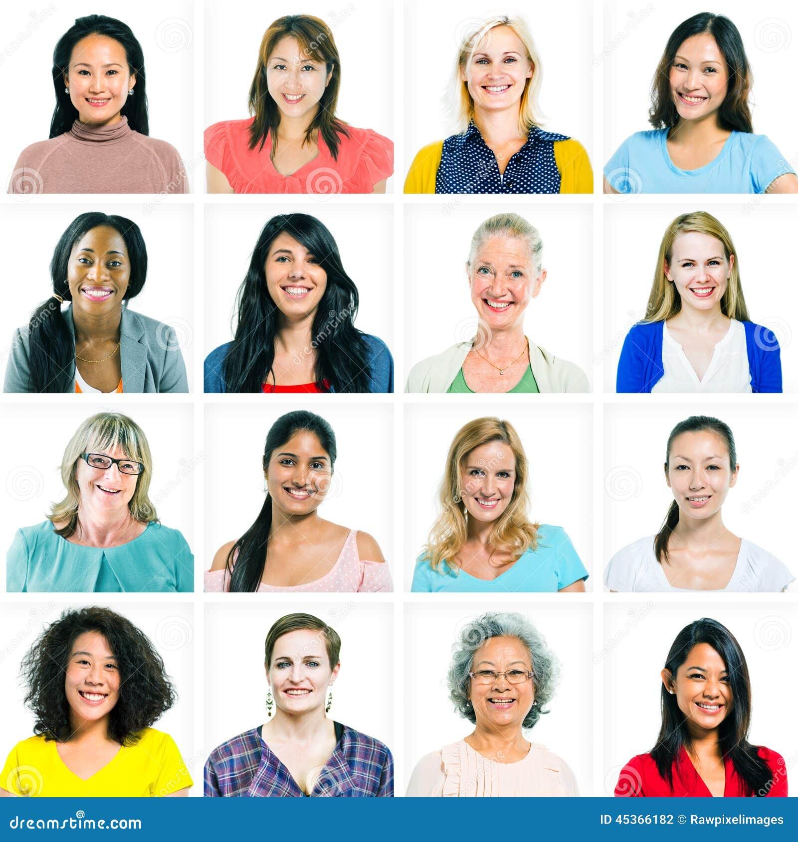 Retratos de mujeres diversas solamente