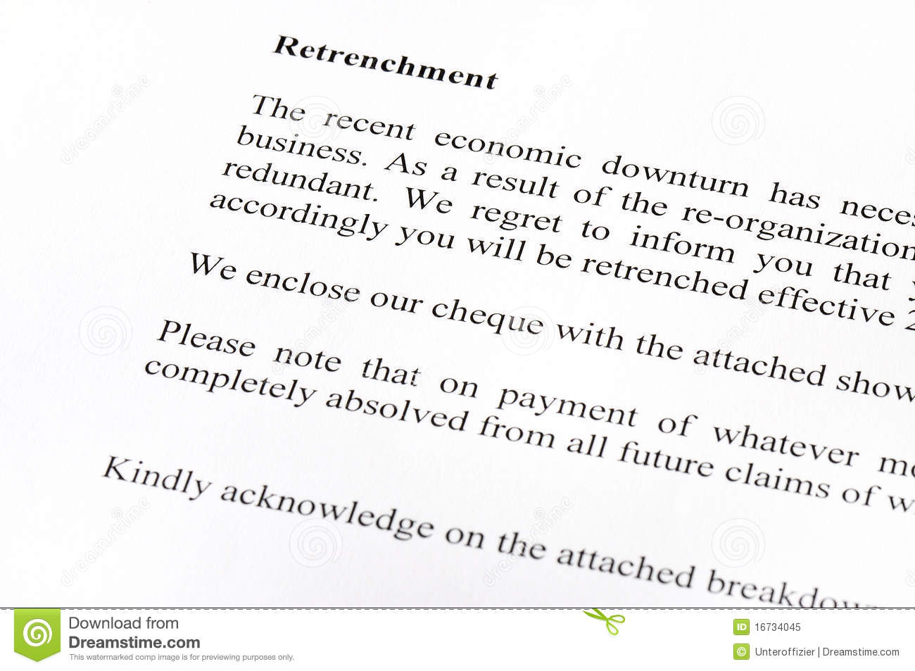 Retrenchment Letter Stock Image Image Of Retrenchment