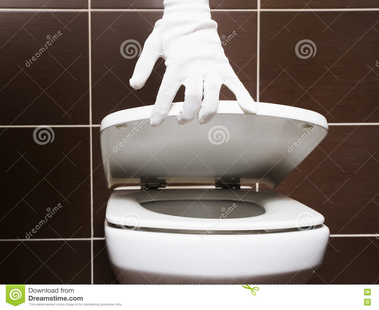 Retrete limpio blanco con la funda de asiento abierta