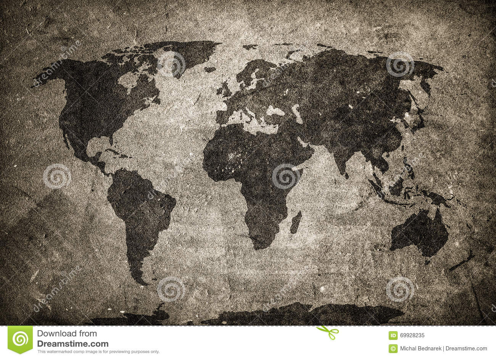 Retro światowa mapa na betonie, tynk ściana Rocznik, grunge tło