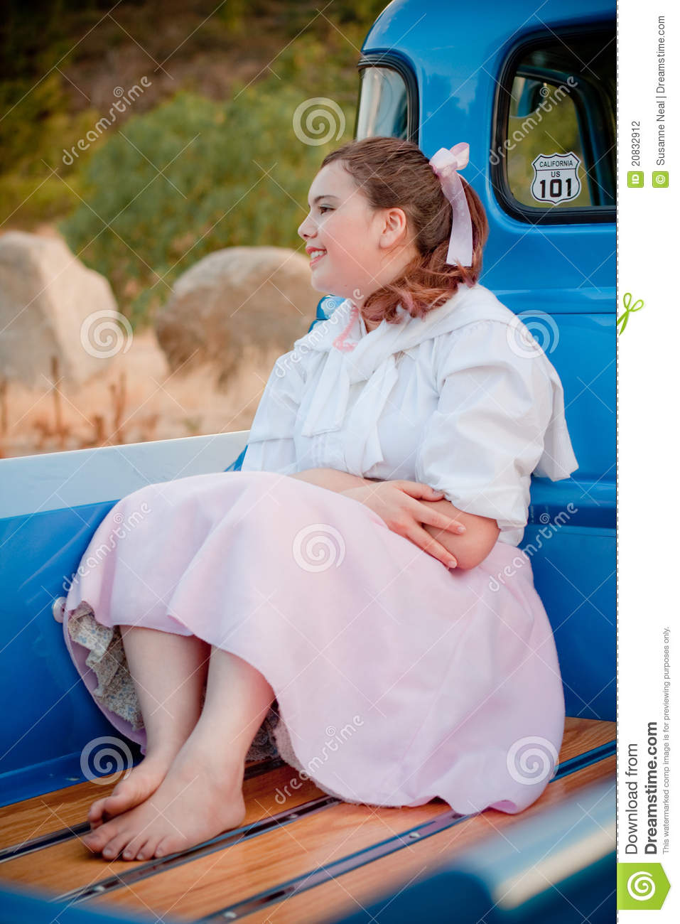 Retro 1950s Teen In Back Of 1953 Blue Truck Stock Photography - Image ...